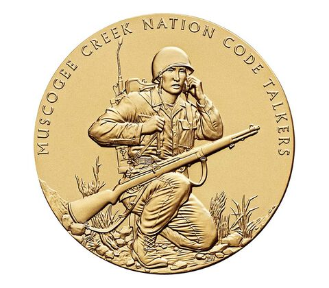 Muscogee Creek Nation Code Talkers Bronze Medal 3 Inch,  image 1