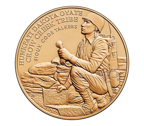 Crow Creek Sioux Tribe Code Talkers Bronze Medal 1.5 Inch