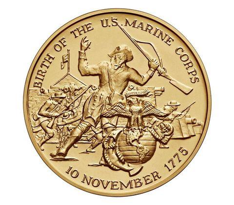 U.S. Marine Corps Bicentennial Bronze Medal 3 Inch,  image 2