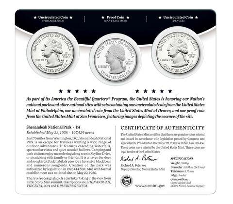 Shenandoah National Park 2014 Quarter, 3-Coin Set,  image 2