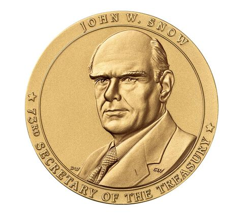 John W. Snow, Secretary of the Treasury Bronze Medal 3 Inch