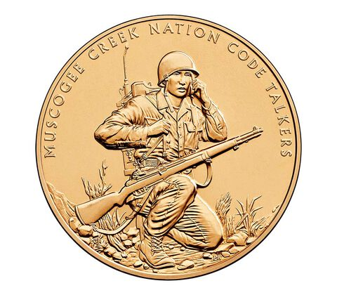 Muscogee Creek Nation Code Talkers Bronze Medal 1.5 Inch,  image 1