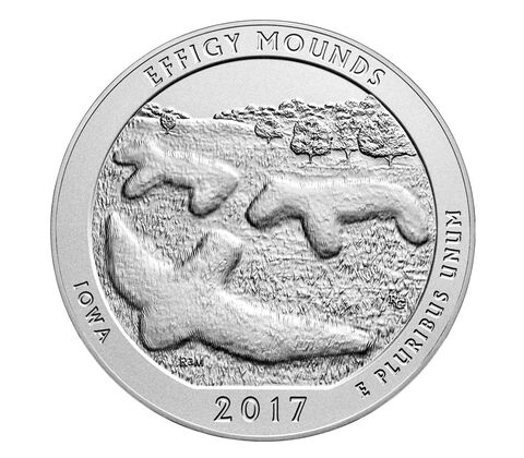 Effigy Mounds National Monument 2017 Uncirculated Five Ounce Silver Coin