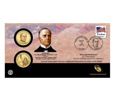 William McKinley 2013 One Dollar Coin Cover