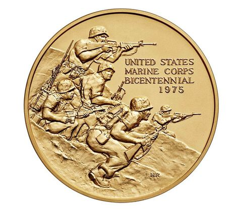 U.S. Marine Corps Bicentennial Bronze Medal 3 Inch