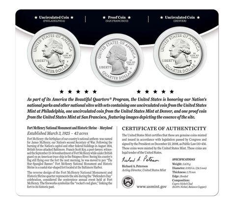 Fort McHenry National Monument and Historic Shrine 2013 Quarter, 3-Coin Set,  image 2