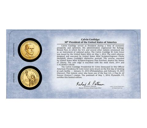 Calvin Coolidge 2014 One Dollar Coin Cover,  image 2
