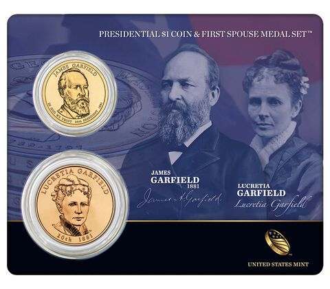 James Garfield 2011 Presidential $1 Coin & First Spouse Medal Set