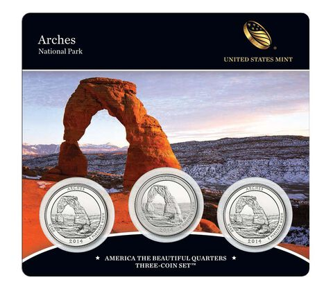 Arches National Park 2014 Quarter, 3-Coin Set