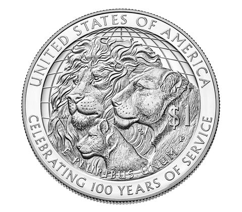 Lions Clubs International 2017 Centennial Proof Silver Dollar,  image 2
