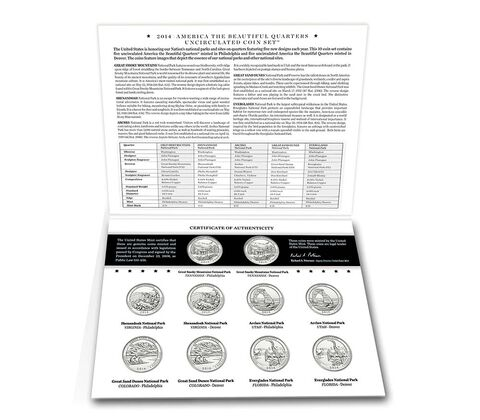 America the Beautiful Quarters 2014 Uncirculated Coin Set