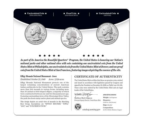 Effigy Mounds National Monument 2017 Quarter, 3-Coin Set,  image 2