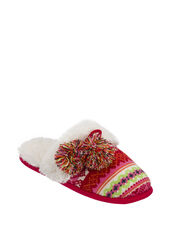 Sweater Knit Scuff Slipper with Poms