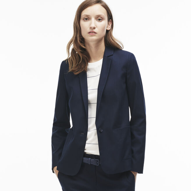 Women's Buttoned Flecked Accents Stretch Piqué Jacket
