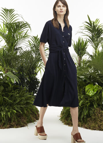 Women's Fashion Show Buttoned Mid-Length Piqué Polo Dress