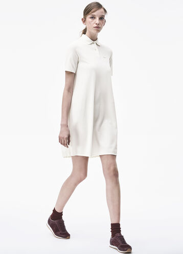 Pleated Back Piqué Polo Dress
