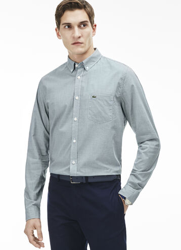 Men's Regular Fit Finely Checked Poplin Shirt