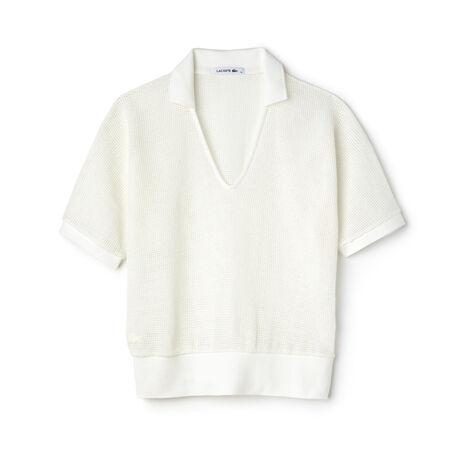 Women's Fashion Show V-Neck Mesh Polo Shirt
