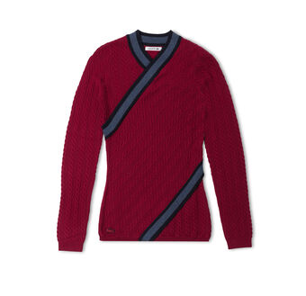 Women's Crossover Cable Knit Wool Sweater