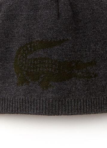 Men's Large Contrast Croc Jacquard Wool Beanie
