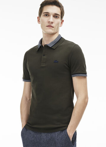Men's Silicone Crocodile Stretch Mini Piqué Polo Shirt