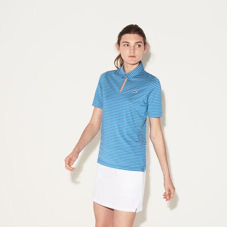 라코스테 스포츠 폴로 티셔츠 Lacoste Womens SPORT Teardrop Neck Golf Polo,medway blue/white