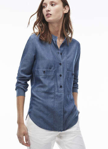 Women's Regular Fit Pocketed Chambray Shirt