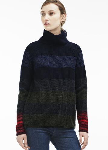 Women's Chunky Wool Multi Stripe Sweater