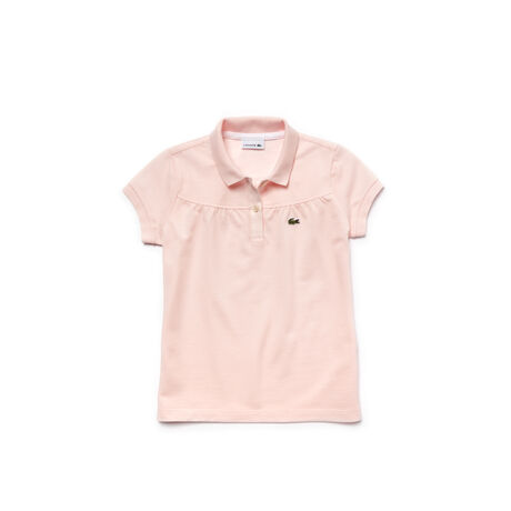 Kid's Lacoste Polo In Gathered Mini Piqué