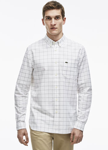 Men's Regular Fit Checked Print Oxford Cotton Shirt