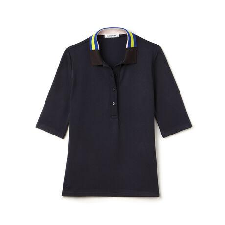Women's Half Sleeve Multi Print Collar Polo Shirt