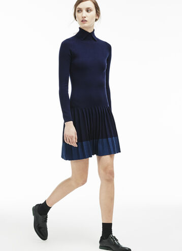 Women's Pleated Skirt Wool Collar Dress