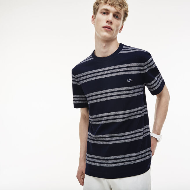 Men's Crew Neck Striped Piqué T-Shirt