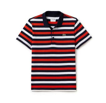 Men's SPORT Lightweight Striped Knit Tennis Polo Shirt