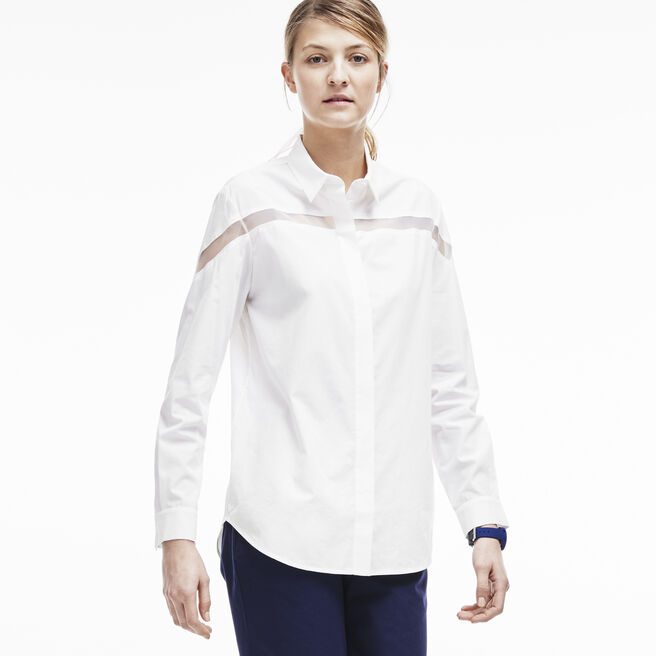 Women's Cotton Silk Voile Sheer Panel Woven Shirt