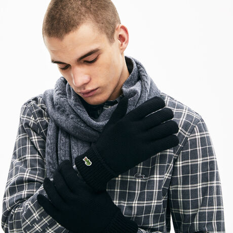 라코스테 장갑 Lacoste Mens Green Croc Wool Gloves,black