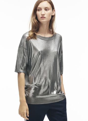 Women's Silver Jersey Flowing Top