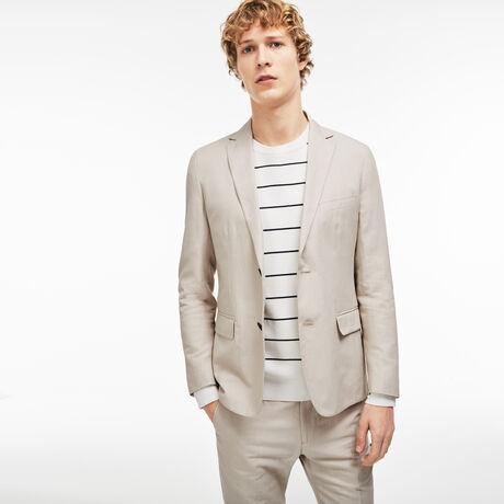 라코스테 린넨 블레이저 Lacoste Mens Thick Cotton And Linen Blazer,LIGHT BEIGE