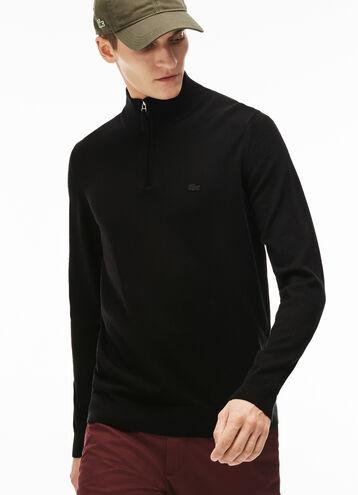 Men's Zip Neck Wool Jersey Sweater