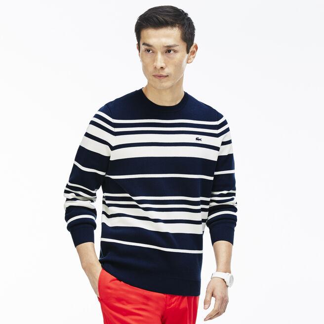 Men's Crew Neck Striped Milano Cotton Sweater