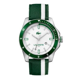 Men's Durban Green and White Stripes Nylon Strap Watch