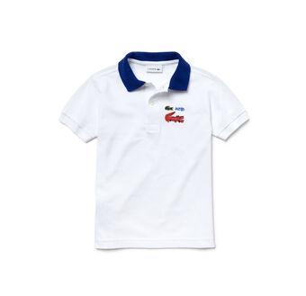 Kids' Contrast Collar And Crocodile Design Piqué Polo Shirt