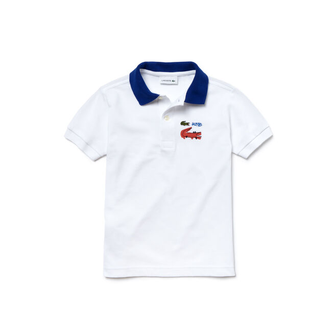 Kids' Contrast Collar And Crocodile Design Piqué Polo Shirt