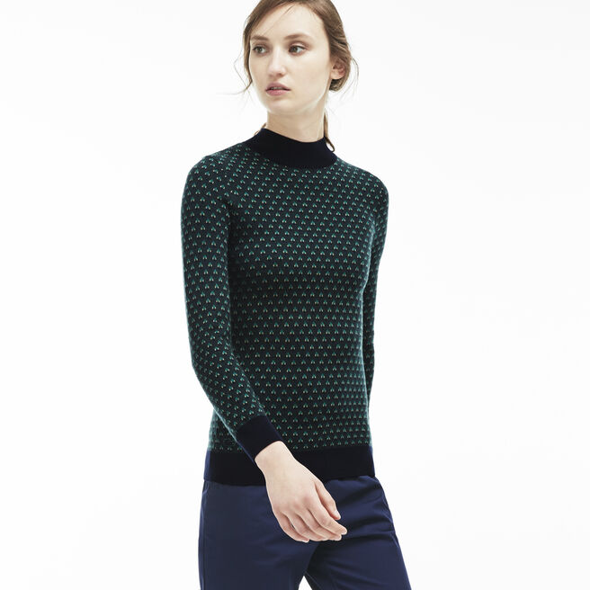 Women's Mini Jacquard Wool Turtleneck Sweater