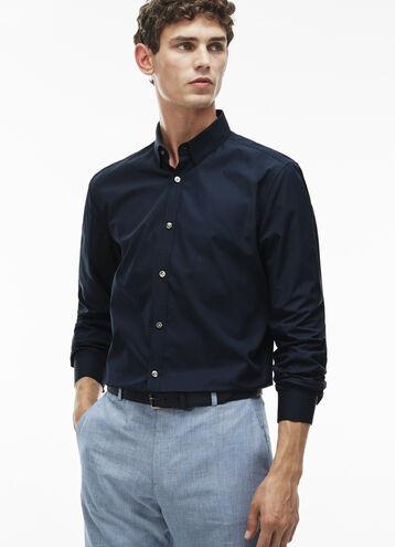 Men's Slim Fit Poplin Spread Collar Shirt