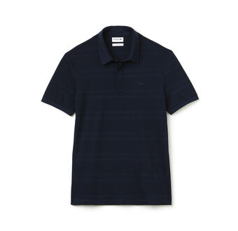 Men's Slim Fit Striped Mercerized Cotton Polo Shirt