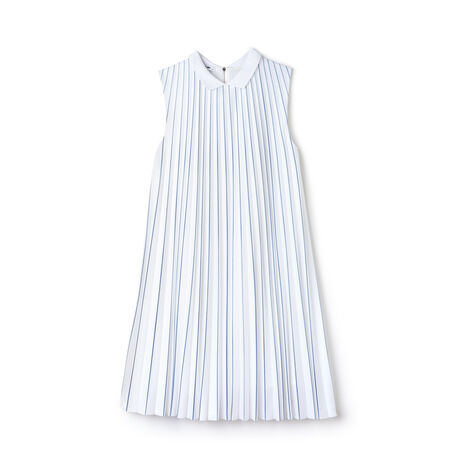 Women's Point Collar Striped Jersey Pleated Dress