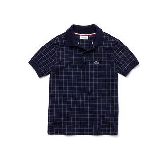 Kids' Classic Fit Net Print Fine Cotton Piqué Polo Shirt