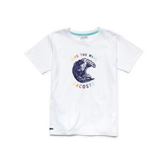 Boy's Crew Neck Flecked Jersey Wave Print T-Shirt