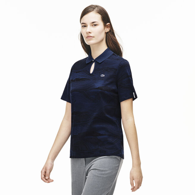 Women's L!VE Wood Print Cotton Keyhole Neck Polo Shirt